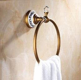 Antique Brass Bathroom Round Towel Ring Towel Hanger Ceramic Decorated Base