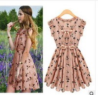 2014 new fashion Feifei sleeve dress summer deer pleated ski...