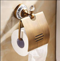 Wholesale Crystal Bathroom Toliet Paper Holder Waterproof Tissue Holder Antique Brass