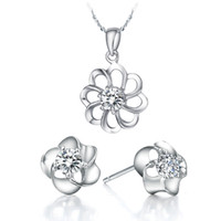 Earrings & Necklace beautiful lovers - Fashion Silver plated Platinum Necklace Earring Jewelry Set Beautiful flowers Austrian crystal jewelry New listing