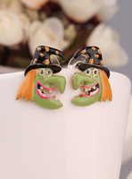 Wholesale arty dress K Gold Plated Cute witch Head Easter Stud Earrings Channel for Women in Jewelry Gift