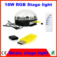 Wholesale Music LED W RGB Crystal Magic Ball Effect Light DMX Disco online DJ Stage Light Lighting remote control USB Hz