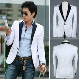 Wholesale men s slim fit white blazer suit jacket button