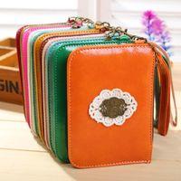 Coin Purses leather purse handles - 11 Colors Retro Series Handle purse PU Leather Zip purse wallet Purse change pocket holder clutch