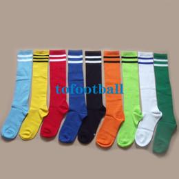 Wholesale Freeship set Children Long Socks Soccer Socks Kids Long Thinken cotton Football Socks white Fluorescent Blue black Yellow Red