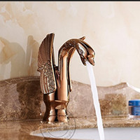 Wholesale Deck Mounted Rose Golden Brass Swan Basin Faucet Single Handle Mixer Tap