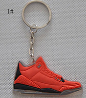 . Silicone Carabiner Keychains Jordan 3 generation family MINI shoes basketball shoes keychain small jewelry pendant 10pcs lot