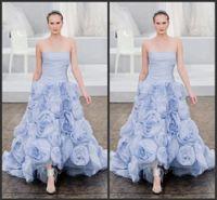 Reference Images light blue wedding dress - Unique Light Blue Sky Handmade Flower Monique Lhuiller Wedding Dresses A Line Strapless Floor Length Bridal Gowns Fashion Style