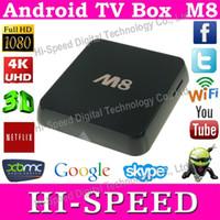 Wholesale 10pcs Original M8 Amlogic S802 Quad Core android TV Box XBMC TV Box Android Kitkat Dual Wifi G RAM G ROM Bluetooth