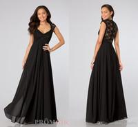 black lace bridesmaid dresses 2014 V neck cap sleeves A line...