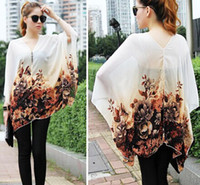 V-Neck Batwing/Dolman Sleeve 3/4 Sleeve Fashion Women Ladies Casual Tunic Loose Oversized Tunic Chiffon Shirts Tops Floral Print V Neck Batwing Seven Sleeve Spring Autumn