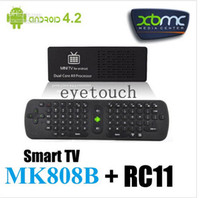 Wholesale MK808 MK808B Android Mini PC Smart TV BOX Stick Dongle Rochchip RK3066 Dual Core A9 With Bluetooth WIFI XBMC Media Player RC11 Air Mouse