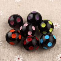gumball beads - Assorted Colors Round Solid Chunky Beads Resin Polka Dot Beads Gumball Beads DIY Baby Children Fashion Jewelry Accessories