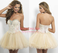 Wholesale 2015 Champagne Homecoming Dresses Sweetheart Ball Gown Bandage Lace Beads Crystal Fashion Cocktail Dress Short Prom Gowns Party Dress BL9652