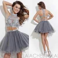 Wholesale 2014 Design Sexy Sheer Graduarion Dresses Silver High Neck Two Piece Crystal Beads Sequine Pleats Short College Junior Real image Prom Gowns