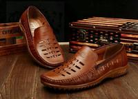 2014 zapatos del novio zapatos de cuero marrón de la boda de sutura Car Shoe zapatos para hombres de mediana edad y de edad ahueca hacia fuera las sandalias Hombre Talla: US5_US11 NSLX56