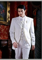 Cheap 2014 Classic White Three Button Suit Groom Suit Personality Sequined Decorated Wedding Suit For Men Summer Beach Suit Custom Made