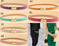 Wholesale Women Belts Pigskin Fashion Lady Candy Color Thin Waistband New Arrive Drop CA01007