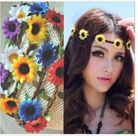 Wholesale DAISY FLOWER headband BOHO HIPPY Headband Floral Hair Band Crown headband