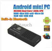Wholesale Latest MK808B MINI PC Android RK3066 Dual Core Bluetooth Google Internet Android Smart IPTV TV BOX Stick Dongle GB GB Installed XBMC