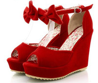 Cheap 2014 spring and summer fish head bow sweet red bridal shoes student shoes wedge sandals Item: 07039118745