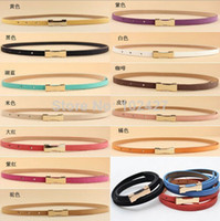 Wholesale Ladies Pigskin Belts Beautiful New Fashion Metal Buckle Waistband Leather Thin Belt colors CA01007