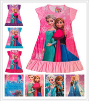 Wholesale Cheap Princess Anna Elsa Dress Girls Summer Dress Short Sleeves Children s Pajamas Night Skirt Multiple Styles
