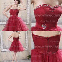 Wholesale Hot Red Short Graduation Dresses Sweetheart Aline Organza Satin Homecoming Dresses Cute Beads Prom Cocktail Gowns Dress Zipper Back ZPL0050