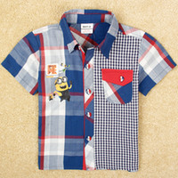 Wholesale Fashion Boys plaid shirt cartoon Despicable Me minions heat transfer t shirt cotton fabric short sleeve baby clothes summer C4951