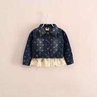 Coat Girl Spring / Autumn 2014 New Pattern Autumn Fashion Girls Lapel Polka Dot Lace Button Cardigan Loose Coat Kid Outwear Cardigan 5pcs lot ys