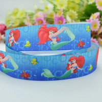 Wholesale 7 mm Ariel Princess printed Satin Ribbons Polyester Grosgrain gift package ribbon DIY hairbow accessories V456