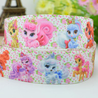Wholesale 7 mm Princess Pets cartoon characters printed grosgrain satin ribbons hairbow party decoration yards C