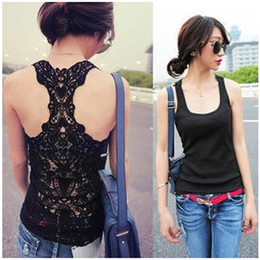 Wholesale new summer Full openwork crochet sexy back lace sleeveless vest bottoming shirt ladies tank tops women