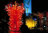 Wholesale CE UL Certificate Hand Blown Chihuly Borosilicate Murano Glass Art Elegant Red Murano Art Glass Sculpture for Sale