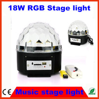 Wholesale 10PCS Fedex free RGB MP3 Magic Crystal Ball LED Music stage light W Hz disco DJ party Stage Lights lighting U Disk Remote