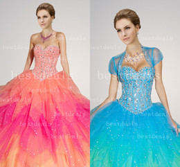 Wholesale 2015 Colorful Sweetheart Ball Gown Quinceanera Dresses Floral Layers Full Length With Lace Up back and Jacket Bridal Pageant Gowns hot