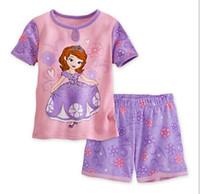 Girl Summer Short 2014 new Frozen Princess children's clothing sets cut cartoon Sofia girls pajama sets toddler baby kids short sleeve suit