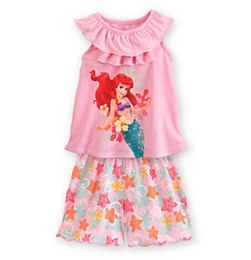 Wholesale 2014 new Princess children s clothing sets cut cartoon flowers cute girls pajama sets toddler baby kids short sleeve suit