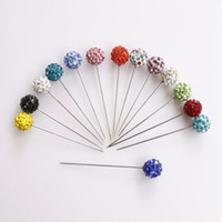Women's ball head pins - 36 Glitter Balls Hijab scarf pins ball head pin mixed colors silver plating free shiipping