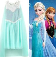 Fashion Frozen Princess Elsa Sleeveless Dress Children Pompo...