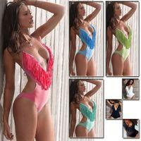 Women Bikinis Pure Colour Hot New Fashion Women Jumpsuit Swim Bikini Beachwear Tassel Tops Swimwear Deep V-Neck Bikini BJN016