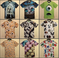 Wholesale New Summer Women Men Funny Casual Simpson Gog Head Beach Girl Glasses Lion Crying Face Print D T shirts doge Tee Tops