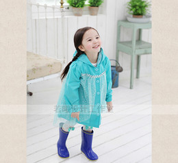 Wholesale Frozen Fashion Baby Girls Clothes Snow Queen Elsa Blue Gauze Coat Princess Raincoat Jacket
