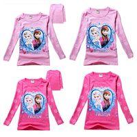 Girl Spring / Autumn Standard Hot Fashion Kids Cartoon Frozen Princess Elsa Anna Olaf Long Sleeve Cotton T-shirt Cute Girls CasualTops Tees Kids Snowflake Queen Tshirt