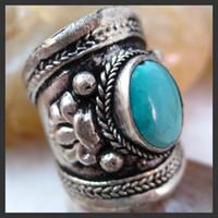 Wholesale Handmade Tibetan Silver Turquoise Adjustable Ring pc