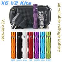 Black Metal E Cigarette Top quality X6 V2 Kit 1300mAh X6 Mod Variable Voltage vv mods ego battery V2 Atomizer Electronic Cigarette Zipper Case starter kits DHL free