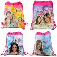 Wholesale 12pcs New violetta mochila Kids Children string Drawstring Print Backpack Shopping School Travel fabric Party Favor Gift bags