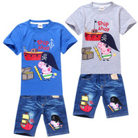 Boy Summer Short New 2014 Peppa Pig clothing set cotton t-shirt+jeans boys suits Cartoon clothing Sets kids suit