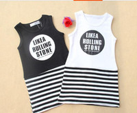 TuTu baby clothes direct - 2014 summer direct foreign trade children s clothes The new han edition cotton dresses of the girls Striped baby kids vest dress GX557