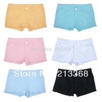Shorts Women Capris Free shipping 2014 new women white summer denim short Ripped hot Clubwear short pants Beach Jeans shorts # 5767